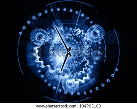Arrangement of clock hands, gears, lights and numbers on the subject of time sensitive issues, deadlines, scheduling, temporal computational processes, digital technologies, past, present and future - stock photo