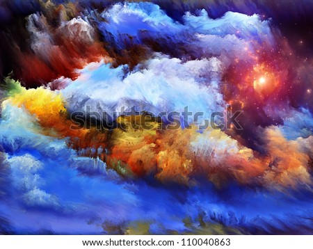 Arrangement of dreamy forms and colors on the subject of dream, imagination, fantasy and abstract art - stock photo