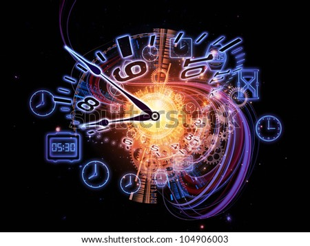 Arrangement of gears, clock elements and abstract design elements on the subject of scheduling, temporal and time related processes, deadlines, progress, past, present and future - stock photo