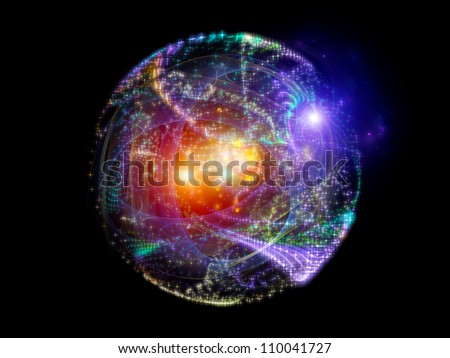 Arrangement of lights, curves and fractal elements on the subject of technology, science and entertainment - stock photo