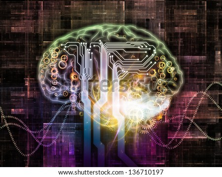 Arrangement of outlines of human brain, technological and fractal elements on the subject of artificial intelligence, computer science and future technologies - stock photo