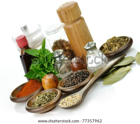 arrangement of spices on a white background - stock photo