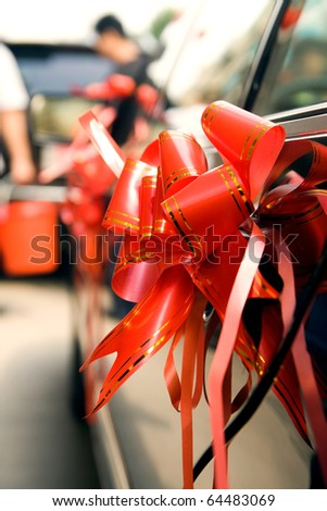 Arrangement on Wedding car - stock photo