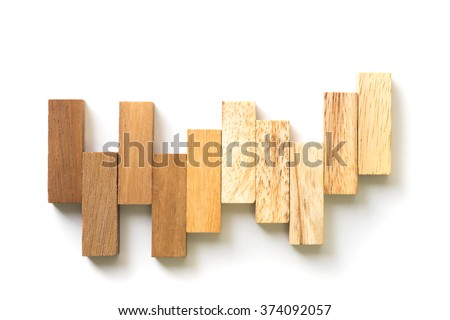 Arranging wood block stacking as step stair. Business concept for growth success process. - stock photo