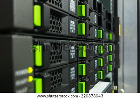 Array disk storage in data center - stock photo