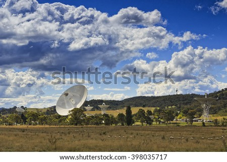 array of deep space radio antennas at Canberra CSIRO communication station behind pasture plain with sheep. - stock photo