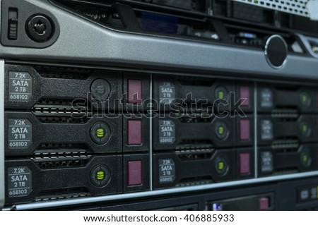 Array of hard disk server in data center - stock photo