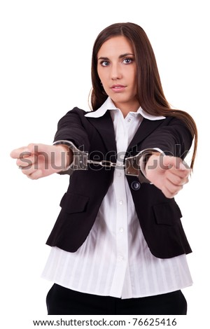 arrested businesswoman or prisoner of work, isolated on white - stock photo