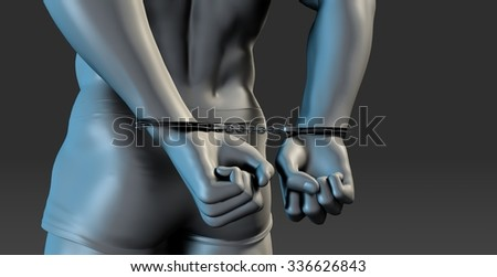 Arrested Man in Handcuffs with Hands Behind Back - stock photo