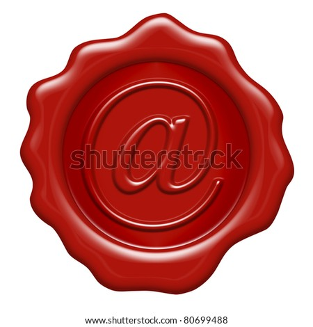 arroba as a wax seal - letter from A to Z - stock photo