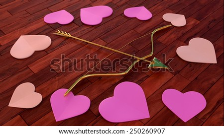 arrow and bow with heart shapes on wooden floor - 3D - stock photo
