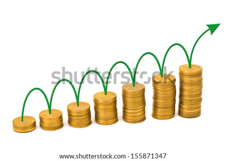 Arrow and money staircase isolated on white background - stock photo