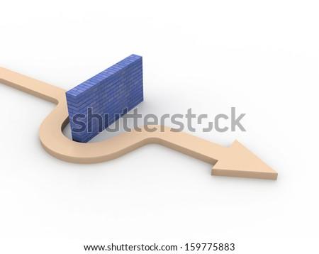 Arrow around the barrier - stock photo