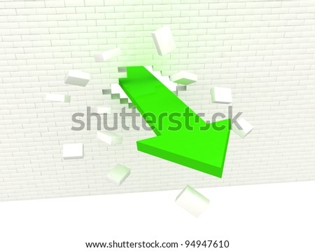 Arrow break the wall. Way to success concept. - stock photo