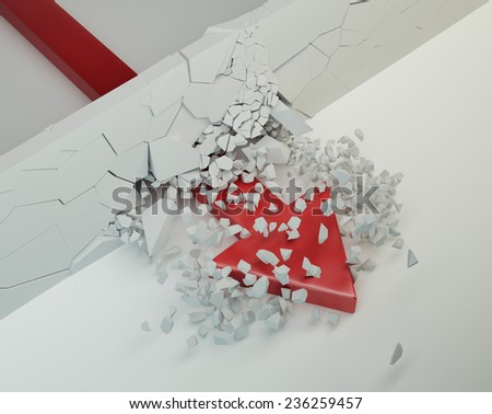 arrow break wall concept - stock photo