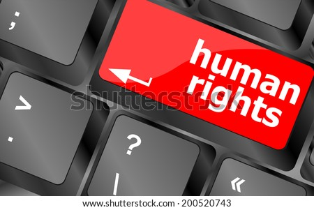 arrow button with human rights word on it - stock photo