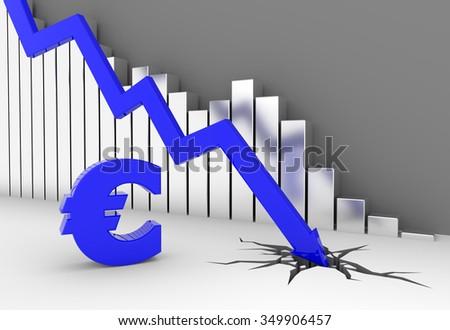 Arrow crashes to the ground - euro symbol - stock photo