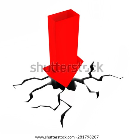 Arrow Crashing Showing Difficult Situation And Problem - stock photo