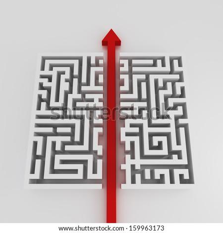 Arrow cross labyrinth concept - stock photo
