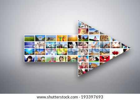 Arrow design element made of pictures, photographs of people, animals and places. Conceptual background - stock photo