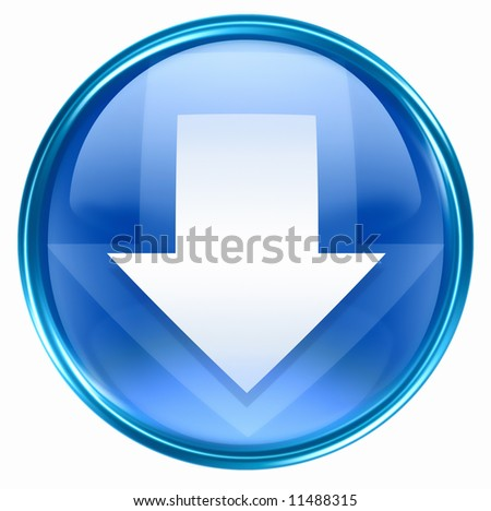 Arrow down icon blue, isolated on white background. - stock photo