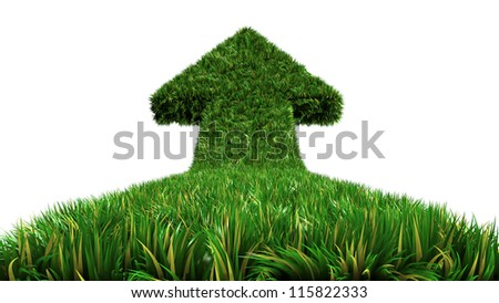 arrow from grass way, ecologic symbol on isolate white background - stock photo