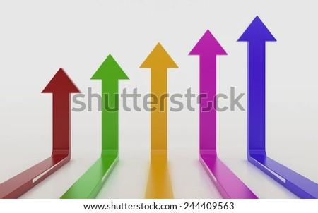 Arrow graph chart 3d  - stock photo