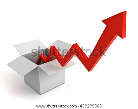 Arrow graph coming from opened cardboard box isolated over white background with reflection. 3D rendering. - stock photo