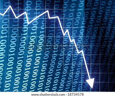 Arrow graph going down on a blue background - stock photo
