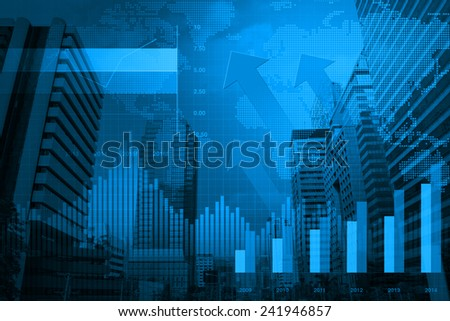 Arrow head with Financial chart and graphs on city background - stock photo