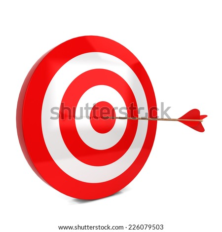 Arrow hits the target. 3d illustration isolated on white background  - stock photo