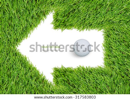Arrow icon of green grass frame and golf ball with clipping path. - stock photo