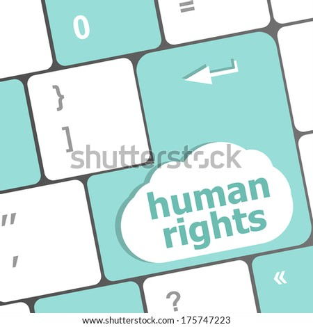 arrow keyboard keys button with human rights word on it - stock photo