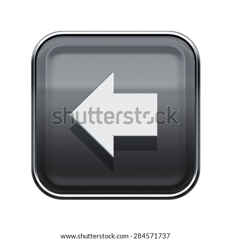 Arrow left icon glossy grey, isolated on white background - stock photo