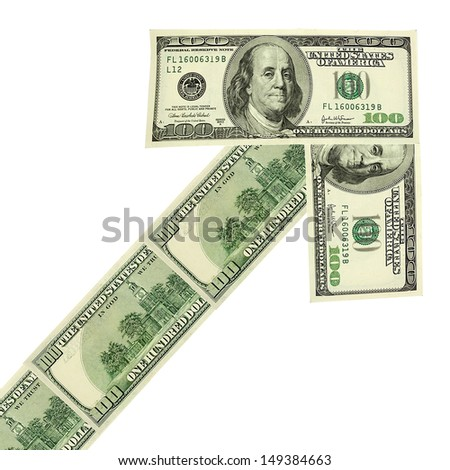 Arrow made of dollars isolated on white - stock photo