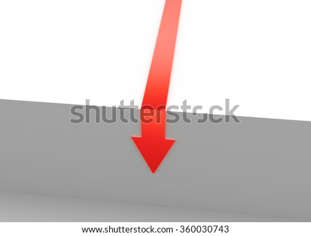 Arrow moving downward - stock photo