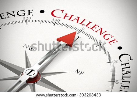 Arrow of a compass pointing to the word Challenge (3D Rendering) - stock photo