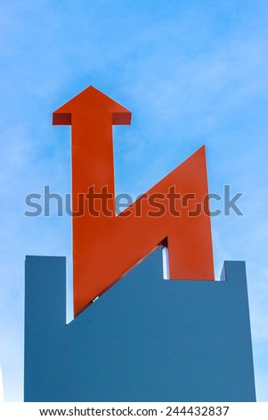 Arrow on the sky - stock photo