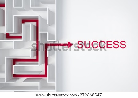 arrow out of labyrinth for success business conception - stock photo