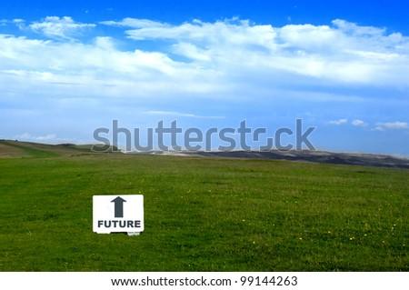 Arrow pointing towards the future - stock photo
