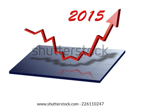 arrow shows success at new year 2015  - stock photo