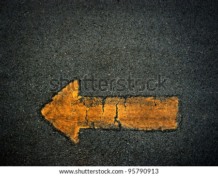Arrow sign symbol background yellow texture - stock photo