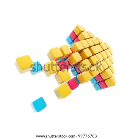 Arrow symbol made of glossy cubes isolated on white - stock photo