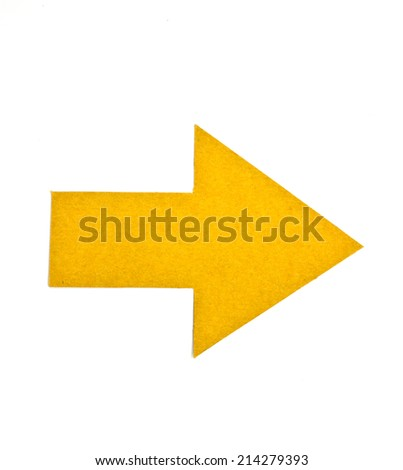 arrow tag recycled paper on white background - stock photo