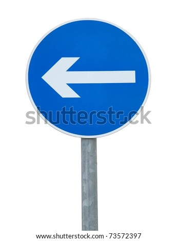 Arrow traffic sign isolated on white background - stock photo