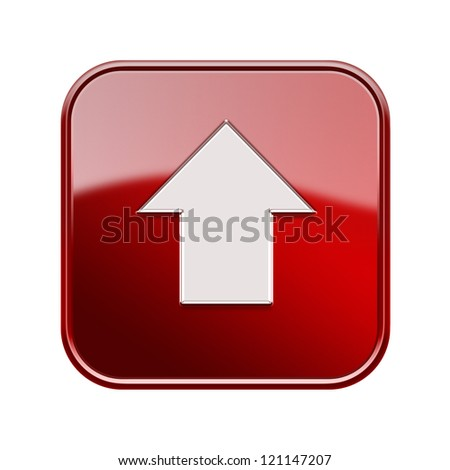 Arrow up icon glossy red, isolated on white background - stock photo