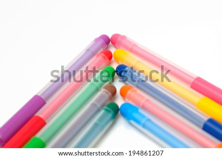 arrow up of felt-tip pens isolated objects - stock photo
