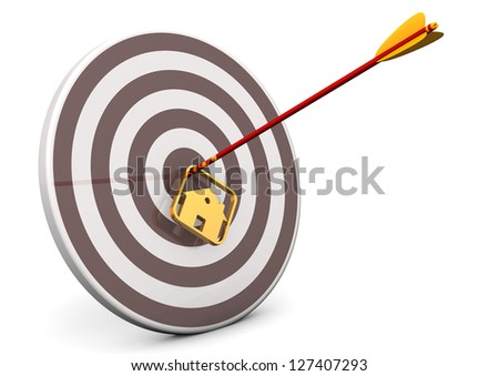 Arrow with house in the target. White background. - stock photo