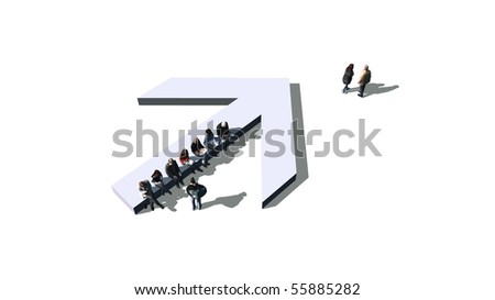 arrow with sitting people - stock photo