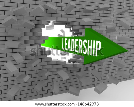 Arrow with word Leadership breaking brick wall. Concept 3D illustration. - stock photo